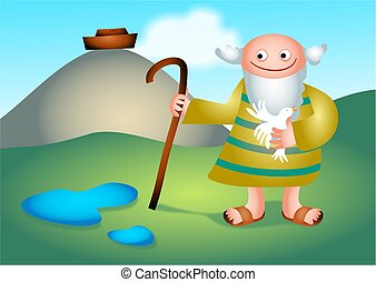 Noah holding a dove