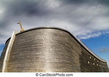 noah's, afsluiten, giraffe, ark, op