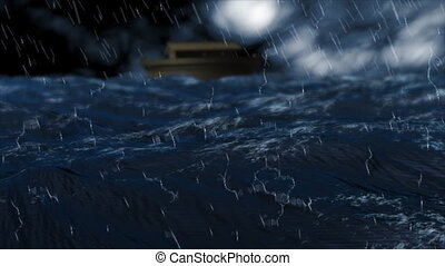 3d animation of Noah's ark on the stormy sea created in High definition.