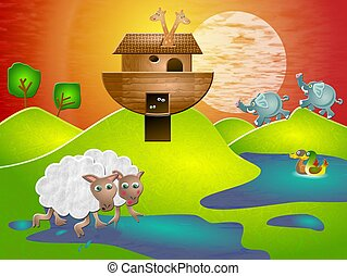 Noahs Ark - Noah\\\'s ark has come to rest on a hillside and...