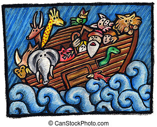 Noah's Ark Illustration: Some Noah's Animals are waiting for...