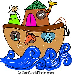 Noahs Ark - Noahs ark drawn in child like style - toddler...