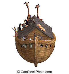 Noah's Ark with a handful of animals. With Clipping Path