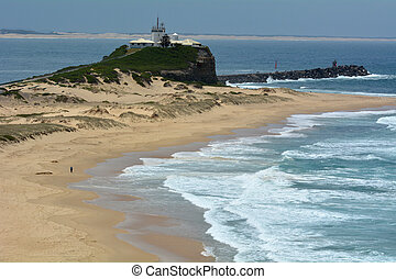 Nobbys Beach and Nobbys Lighthouse in Newcastle New South Wales Australia