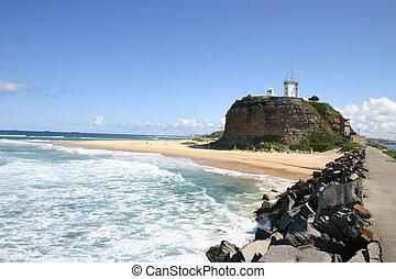 Nobbys Lighthouse. A historic landmark Newcastle Australia