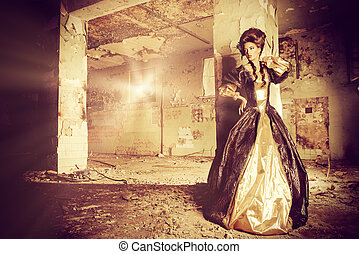 nobility - Art Fashion. Beautiful young woman in elegant...