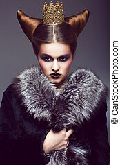 Nobility. Honorable Princess with Golden Crown. Creative...