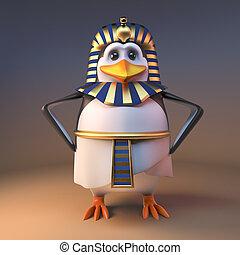 Noble 3d penguin pharaoh Tutankhamun stands with hands on hips, 3d illustration