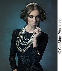 noble antique lady - fantasy retro shoot of sensual woman...