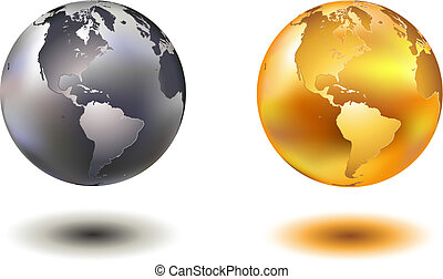 noble globes - vector illustration of noble hovering chrome...