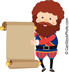 Noble man with blank paper
