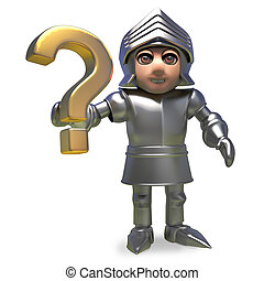 Noble medieval knight in armour holding a gold question mark symbol, 3d illustration