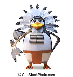 Noble native American Indian chief penguin smoking the peace pipe in traditional ceremony, 3d illustration render