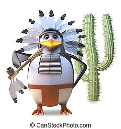 Noble native American Indian penguin chief smokes his peace pipe peacefully by a cactus, 3d illustration render