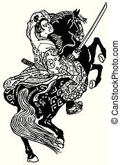 noble samurai warrior - Japanese noble samurai horseman...