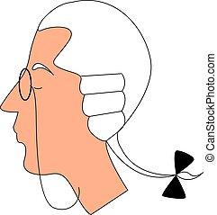 nobleman, illustratie, bril, achtergrond., vector, witte