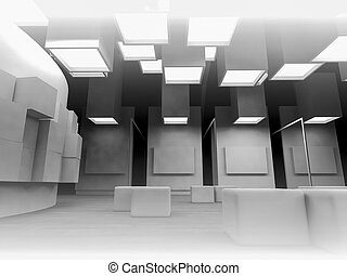 nobody, open space, clean room with shapes in 3d, business...