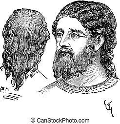 nobre, homem, vindima, engraving., penteado