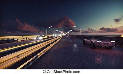 noc, światła, od, przedimek określony przed rzeczownikami, wozy, i, tło, traffic., wozy, z, światła, na, iść, na, przedimek określony przed rzeczownikami, most, na, sunrise., 3d, przedstawienie