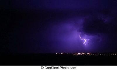 noc, -, burza, burza, piorun
