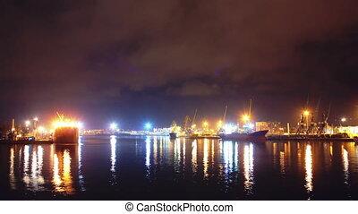 noc, georginia, chmury, batumi, timelapse, morze, czas przejazd, port