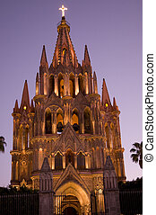 noc, kościół, lekki, meksyk