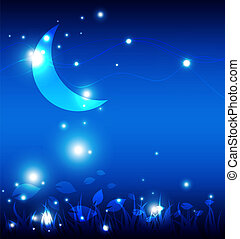 noc, krajobraz, księżyc