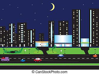 noc, krajobraz, od, miasto, z, księżyc