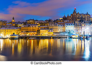 noc, krajobraz, od, sztokholm, szwecja