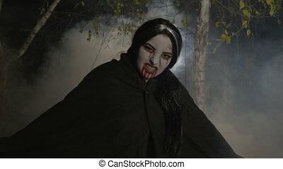 noc, las, malefic, wysiadając, strzyga, samica, światło księżyca, zombie, mglisty, halloween, świętować