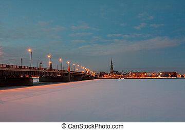 noc, miasto, most