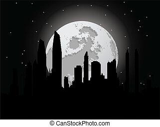noc, miasto, z, księżyc