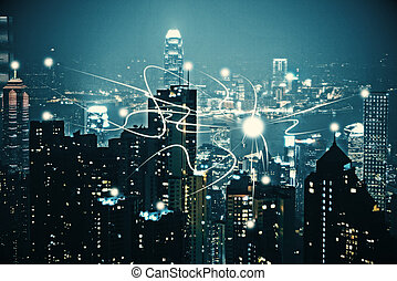 noc, miasto, zasłona