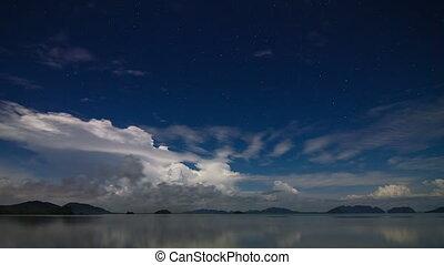 noc, morze, niebo, upływ czasu