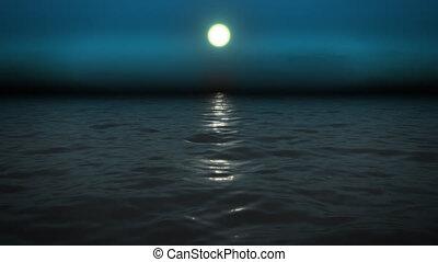 noc, morze, z, księżyc