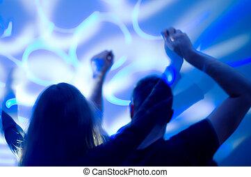 noc, motion., taniec, club., ludzie