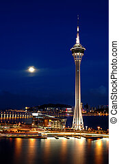 noc, od, wieża, covention, i, środek zabawy