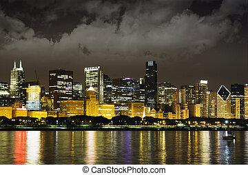 noc, prospekt, na, śródmieście, chicago, i, jeziorowy michigan