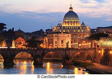 noc, prospekt, na, st. piotr, katedra, w, rzym, włochy