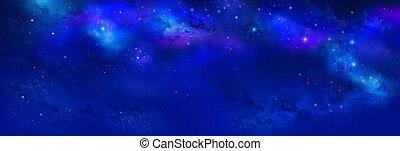noc, -, przestrzeń, mgławica, gwiazdy, niebo, chorągiew, tło.