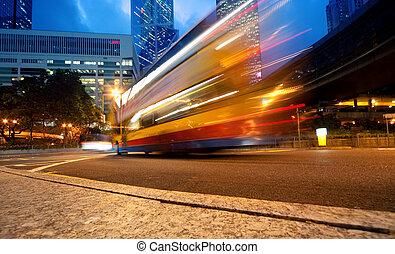 noc, ruchomy, autobus, mocny