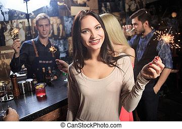 noc, sparklers, club., bar., ludzie