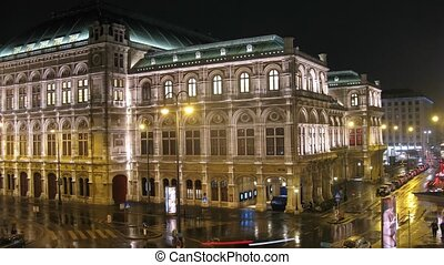 noc, stoi, wiedeński, opera, gmach, świecić, miasto