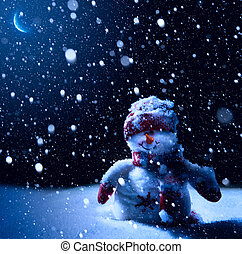 noc, -, sztuka, tło, śnieg, boże narodzenie, bałwan