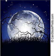 noc, tło, księżyc