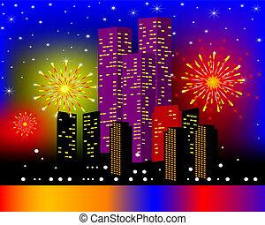 noc, tło, townhouses, świąteczny, fajerwerk