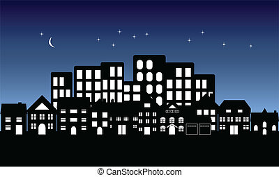 noc, upadek, na, miasto