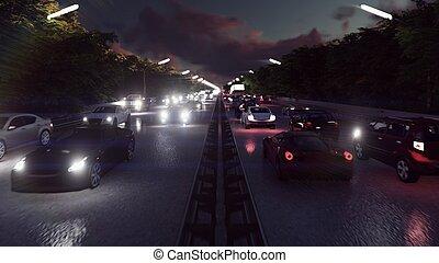 noc, wozy, światła, i, ciężki, traffic., wozy, z, reflektory, na, iść, do, miasto, na, night., 3d, przedstawienie