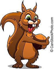 noce, cartone animato, scoiattolo