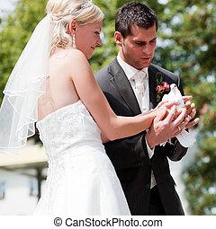 noce couple, à, colombe, dans, main